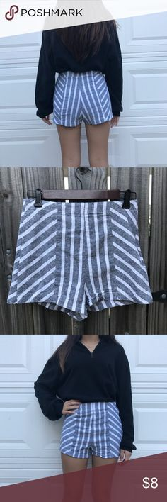 Asos high waisted Shorts Asos Gray And White Striped Shorts size 4 on label. ASOS Shorts Skorts