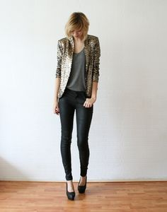 what-do-i-wear:    Sequin jacket / ZaraTanktop / H jeans / COSHeels / Nelly (image: connectedtofashion)