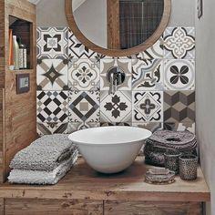 """Braga"" Pvc tiles for bathroom tiles and kitchen Ceramic decorations various sizes - Kacheln & Fliesen ♡ Wohnklamotte - Bathroom Decor Bathroom Toilets, Small Bathroom, Bathroom Ideas, Bathroom Black, Boho Bathroom, Kitchen Tiles, Kitchen Decor, Room Tiles, Bathroom Splashback"