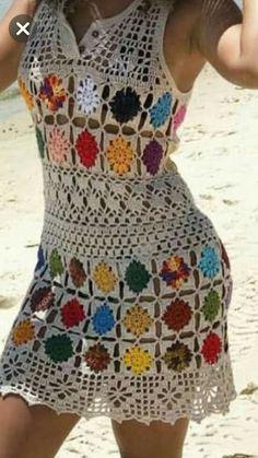 Fabulous Crochet a Little Black Crochet Dress Ideas. Georgeous Crochet a Little Black Crochet Dress Ideas. Crochet Beach Dress, Crochet Summer Dresses, Black Crochet Dress, Crochet Jacket, Crochet Cardigan, Knit Dress, Crochet Bikini, Crochet Top, Quick Crochet
