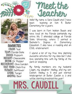Floral Teacher Introduction Letter by Southern Standards Teacher Welcome Letters, Letter To Teacher, Parent Letters, Teaching First Grade, Student Teaching, Teaching Kids, Letter To Students, Letter To Parents, Teacher Introduction Letter