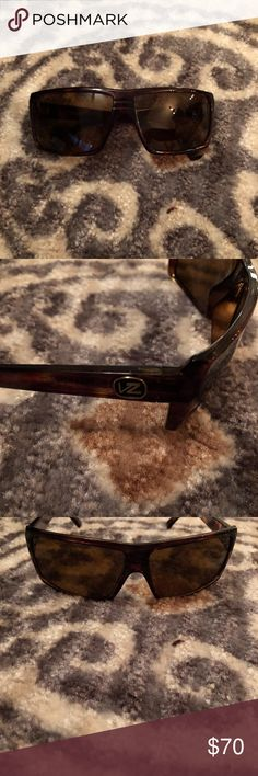 VonZipper Snark Polarized Glasses Brown Tortoise Frame, Brown Polarized lenses  Dimensions: Lens 63mm W x 42mm H Bridge 12mm Temple 128mm Frame width 135mm  Original VonZipper Soft case included. VonZipper Accessories Sunglasses