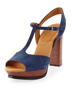 Alex Platform T-Strap Sandal, Navy by See by Chloe at Neiman Marcus.