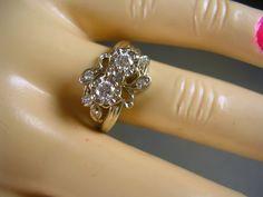 1940s Diamond Ring .50Ctw Double Diamonds  in Illusion Heads with Accent Diamonds 14K WG Size 6.75 3.3gm. $850.00, via Etsy.