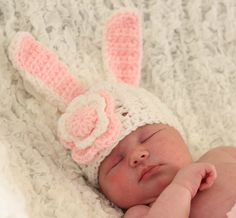 Hippity Hop Bunny Hat Crochet Bunny Hat. Custom made to order in any size. Have your child wear this cute hat for pictures or just for fun! Makes a great newborn baby photo prop! Can be made in multiples to match for your family pictures too. Order in time for Easter.
