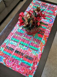Boho Chic Christmas Table Runner, Bohemian, Hippie Chic, Global, Kaffe Fassett, Industrial, Kitchen Linens, Unique, One of a Kind, Holiday by LittleWheelerQuilts on Etsy