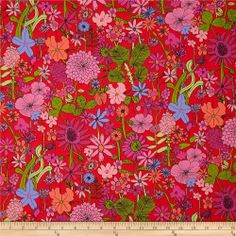 Liberty Of London Tana Lawn Scilly Flora Red Multi - Discount Designer Fabric - Fabric.com