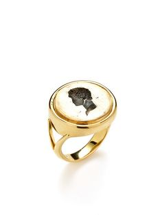 Ray Griffiths Crownwork Two-Tone Intaglio Signet Ring $1,450 Gilt