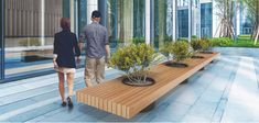 VICTOR BENCH WITH PLANTER - Metalco