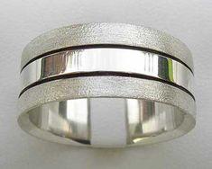 Twin Finish Silver Wedding Ring   UK Made! Wedding Ring For Him, Cool Wedding Rings, Wedding Men, Sterling Silver Wedding Rings, Two Tones, Jewelry Rings, Twin, Rings For Men, Jewelry Making