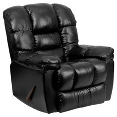 Flash Furniture Contemporary New Era Black Leather Chaise Rocker Recliner