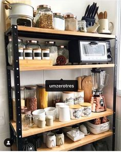 Best Kitchen Appliance Storage Rack Design Ideas For You 31 Kitchen Appliance Storage, Kitchen Rack, Kitchen Decor, Kitchen Appliances, Kitchen Storage Racks, Kitchen Items, Kitchen Styling, Rustic Kitchen Design, Country Kitchen