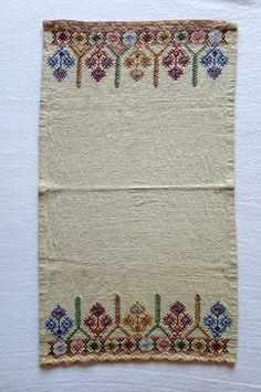 Embroidery Vintage fabric/ Greek Handmade/ Traditional Design/ Colorful…