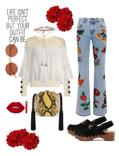 """""""Out and about"""" by riniparamicas on Polyvore featuring See by Chloé, Sans Souci, Gucci, Alessandra Rich, Lime Crime, Oliver Peoples and Johnny Loves Rosie"""