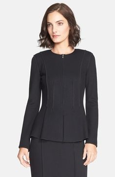 St. John Collection Milano Piqué Knit Peplum Jacket available at #Nordstrom