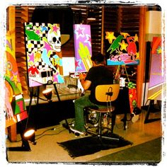 """Painting LIVE and Exhibiting at the """"W Hotel"""" in San Diego, Ca."""