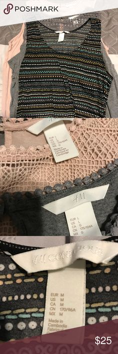 H&M Tanks Multi color Tank is a Medium Blush and Gray Tank are L Worn a few times No longer fit $25 for all 3 H&M Tops Tank Tops