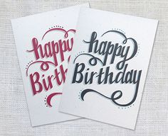 Hand Lettered Happy Birthday Card in red or grey (A7)  by Hennel Paper Co. $4