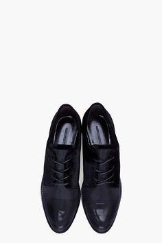 ALEXANDER WANG Black Velvet Joana Oxford Flats