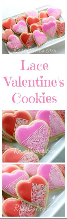 Lace Valentine's Cookies Collage