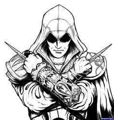 how to draw ezio, assassins creed, ezio step 15