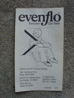 Evenflo booster instructions