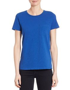 Lord & Taylor Crewneck Pocket Tee Women's True Blue X-Large