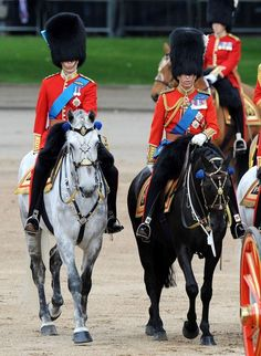 Prince William and Prince Charles during Trooping the Colour at Horse Guards Parade in London.