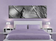 Black and white cardinal bird panoramic large canvas print, nature photography fine art interior decor living room sophisticated 20x60 inch by caughtitoncanvas on Etsy.  Nature home decor that is perfect for over the bed or over the couch for a modern, sophisticated look.