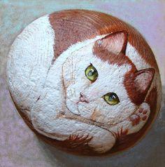 Extra Large Hand Painted Cat rock Original by PaintedRocksbyShelli