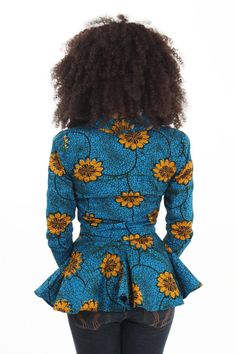 Gorgeous African print jacket - blue with yellow flowers.