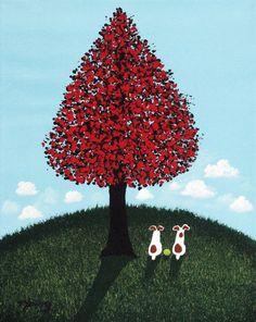 Jack Russell Terrier Dog Folk Art print by Todd por ToddYoungArt