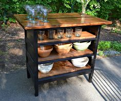 Trendy Refurbished Furniture Diy Dresser Kitchen Islands - You are in the right place about kitchen islands with seating Here we offer you the most beautiful - Dresser Kitchen Island, Antique Kitchen Island, Diy Kitchen Island, Dresser To Buffet, Brown Dresser, Dresser Ideas, Vintage Kitchen, Kitchen Cabinets, Design Furniture