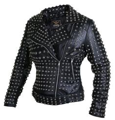This black Brando belted round cap studded leather jacket is all you need to gear up your style game. It comes with quilted lining and embellished round cap studs that accentuate a feminine look! Spiked Leather Jacket, Black Leather Blazer, Long Leather Coat, Leather Jacket With Hood, Leather Skin, Faux Leather Jackets, Leather Outfits, Stylish Jackets, Vest Jacket