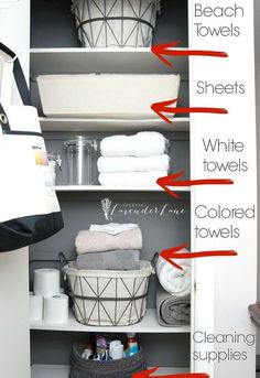 Gloriously organized linen closet before and after.