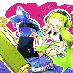 Morning squids~ #splatoon #Inklings #woomy #ngyes #blue #green