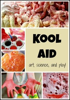 We don't like to drink Kool Aid, but it is so much fun for play! Here are four ways to use Kool Aid in play including art, science and sensory play. This post also includes links to the benefits of messy play and laundry tips to keep those clothes stain free after Kool Aid play. *repinned by WonderBaby.org