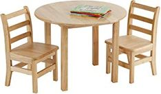 Best Seller Round Hardwood Table Two Ladderback Chairs, Kids' Homeschool Table Chair Set, Children?s Solid Wood Desk Seating, Natural Finish, Set) online - Toocutefashion Small Table And Chairs, Round Dining Table Sets, Desk And Chair Set, Small Tables, Tiny Furniture, Playroom Furniture, Design Furniture, Rustic Furniture, Table Furniture
