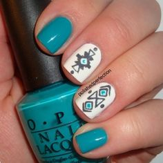 tribal blue nail art #tribal #nails DEFINITELY getting these before school!