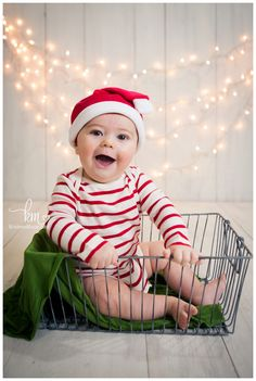 6 month old Christmas card picture - Christmas card picture idea - child Christmas picture - Holiday Card with Kid