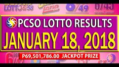 PCSO Lotto Results - January 18, 2018 | 6/49, 6/42, 6D, SWERTRES & EZ2 L... Lotto Results, January 2018, December, Youtube, Youtubers, Youtube Movies