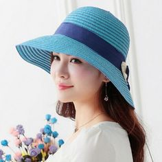 Summer UV straw hat for women package bow beach sun hats