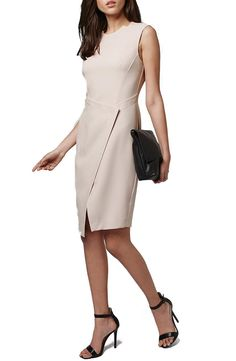 Topshop Structured Wrap Front Sheath Dress available at #Nordstrom