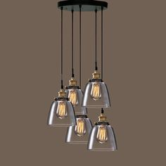 Mariana Cognac Glass Cluster Pendant in Antique Black Finish | Overstock.com Shopping - The Best Deals on Chandeliers & Pendants