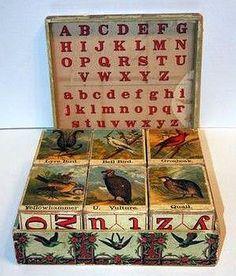 Antique McLoughlin Bros ABC Bird Blocks 1885.
