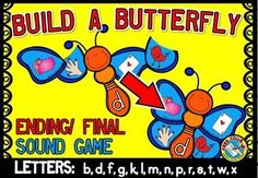 #BUILD A #BUTTERFLY - #FINAL/ #ENDING #SOUND #GAME! #LITERACY #CENTER   EARLY BIRD SALE!   This fun original game (focusing on the ending/ final sound in a word) will surely engage all students and can be played individually or in small groups. Students assemble butterflies by matching each wing (containing a picture ending with a particular sound) with the corresponding butterfly body.   14 butterflies (one for each of the following letters: b, d, f, g, k, l, m, n, p, r, s, t, w, x).