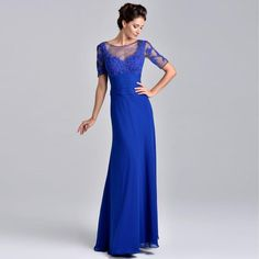 >> Click to Buy << Royal Blue 2017 Mother of the Bride Dresses Women Elegant Rhinestone Half Sleeve Lace Long Mother of the Bride Dress #Affiliate