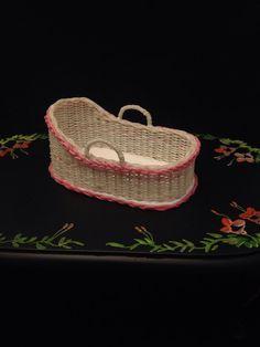 Wicker hand woven Moses basket    by Littledreamminiature on Etsy