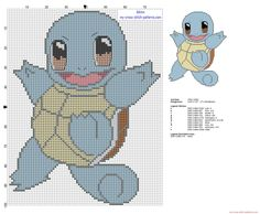 Squirtle Pokemon first generation 007 cross stitch pattern