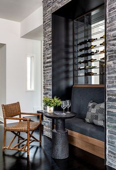 Modern Balinese style house offers a peaceful sanctuary in Georgia Kitchen Banquette, Wine Wall, Modern Tropical, Balinese, Contemporary Design, Home Furnishings, House Plans, New Homes, Interior Design